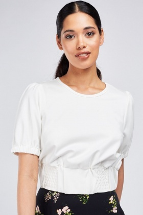Pouf Short Sleeve Crop Top