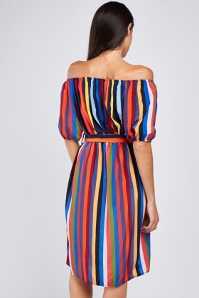 Vertical Multi Stripe Off Shoulder Dress