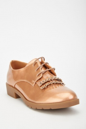 Fringed Vinyl Oxford Shoes