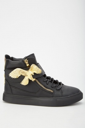 Gold Eagle High Top Sneakers