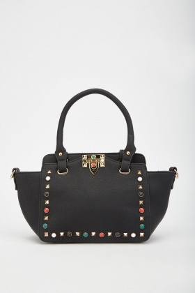 Studded Winged Tote Bag