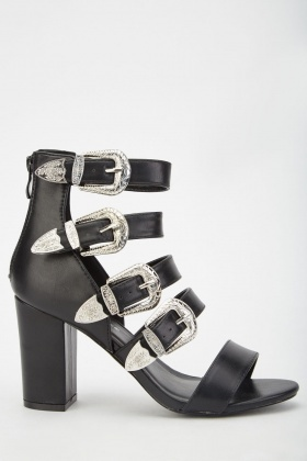 Western Buckled Heeled Sandals