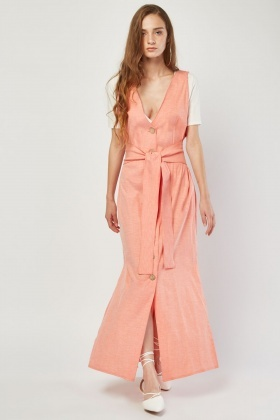 Button Front Maxi Pinafore Dress