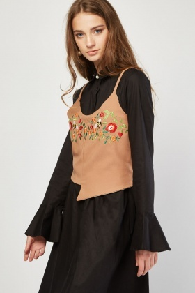 Embroidered Crop Top Overlay Dress