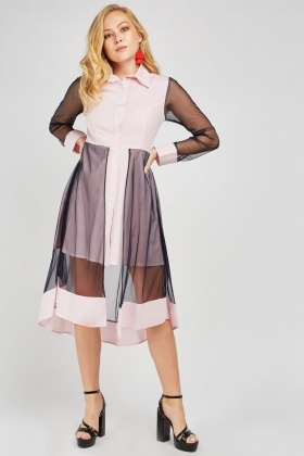 Net Overlay Stripe Shirt Dress