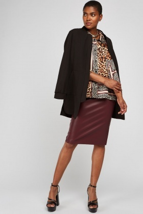 Animal Print Contrast Slouchy Blouse