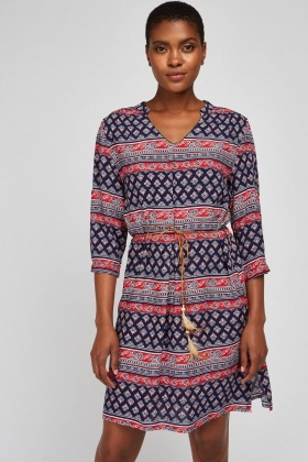 Belted Ethnic Print Dress