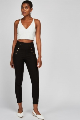 Decorative Button Trim Skinny Trousers