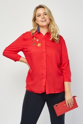 Embroidered Flower Front Shirt