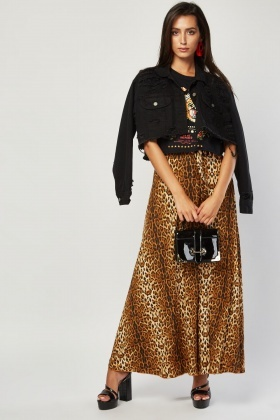 Shimmery Leopard Print Maxi Skirt