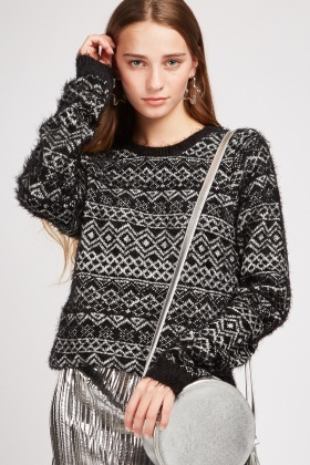 Aztec Eyelash Knit Jumper