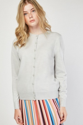 Button Front Fine Knit Cardigan