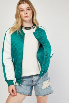 Colour Block Quilted Bomber Jacket