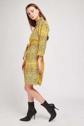 Contrasted Animal Print Shirt Dress
