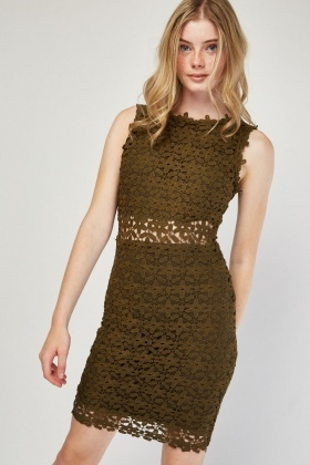 Laser Cut Lace Bodycon Dress