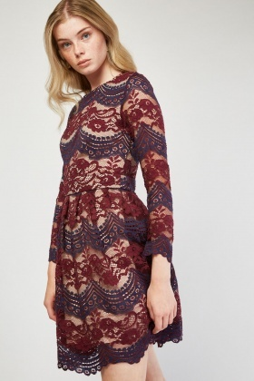 Long Sleeve Lace Skater Dress