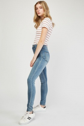 Mid Rise Blue Jeans