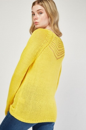 Perforated Neckline Knit Jumper