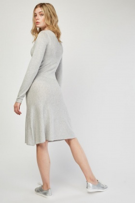 Ribbed Contrast Speckled Jumper Dress