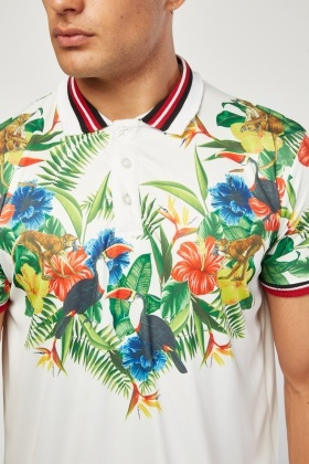Tropical Jungle Print Polo Shirt
