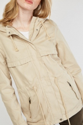 Zipper Front Parka Jacket