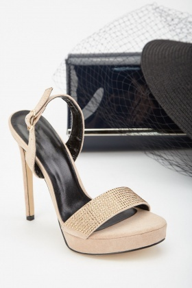 Encrusted Stiletto Heeled Sandals