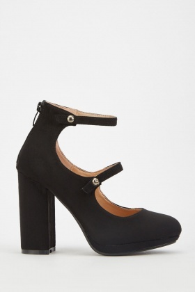 Faux Suede Mary-Jane Block Heels