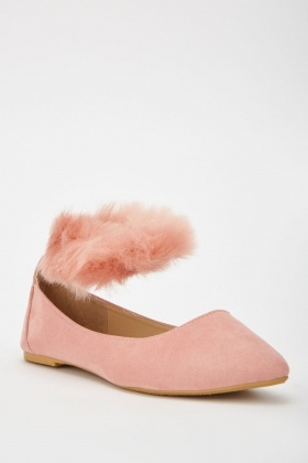 Fluffy Ankle Strap Ballet Pumps