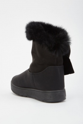 Fur Bow Trim Suedette Boots