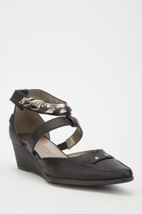 Metallic Strap Low Wedge Heels