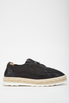 Shimmery Lace Up Espadrilles
