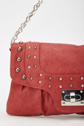 Studded Chain Strap Clutch Bag