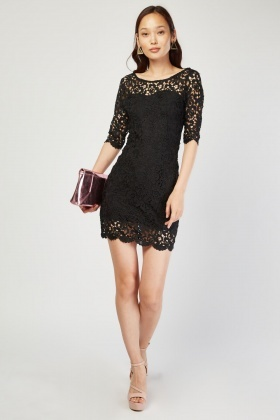 Crochet Overlay Mini Bodycon Dress