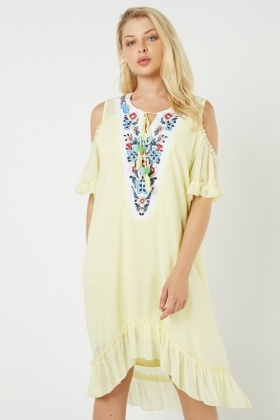 Embroidered Pom Pom Trim Dip Hem Dress