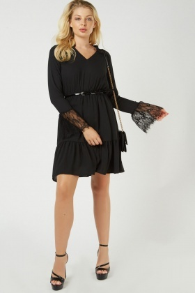 Lace Insert Sheer Chiffon Dress