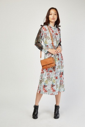 Lace Sleeve Panel Floral Dress