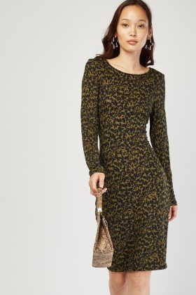 Leopard Print Midi Bodycon Dress