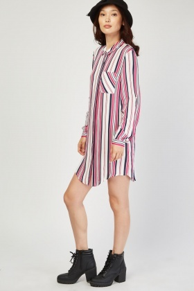 Mix Stripe Shirt Dress