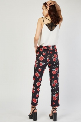 Rose Print Tapered Trousers