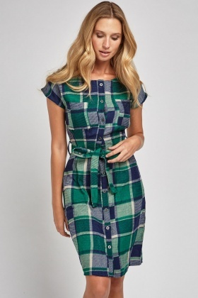 Belted A-Line Checkered Dress