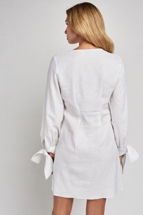 Button Front White A-Line Dress