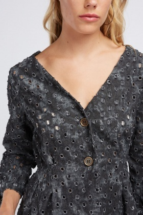 Perforated Button Front Top