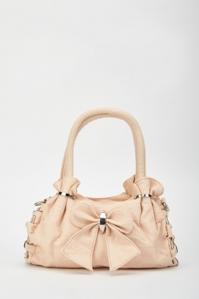 Bow Front Textured Hobo Bag