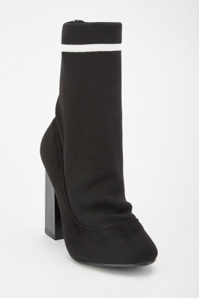Ribbed Sock Overlay Heeled Boots