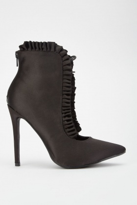 Ruched Lace Up Sateen Boots