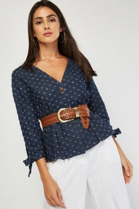 Distressed Tie Up Sleeve Denim Blouse