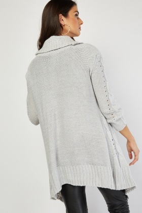 Grey Chunky Cable Knit Cardigan