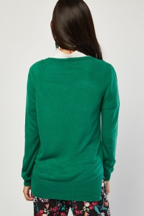 Ribbed Edge Fine Knit Sweater