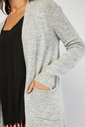 Speckled Knitted Open Front Cardigan
