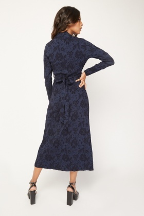 Stitched Pattern Midi Dress